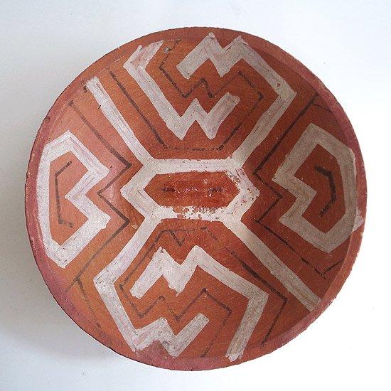 ヴィンテージアイテム:ボウル [シピーポ族]彼らの様々なフォークアートに見られる独特の幾何学模様