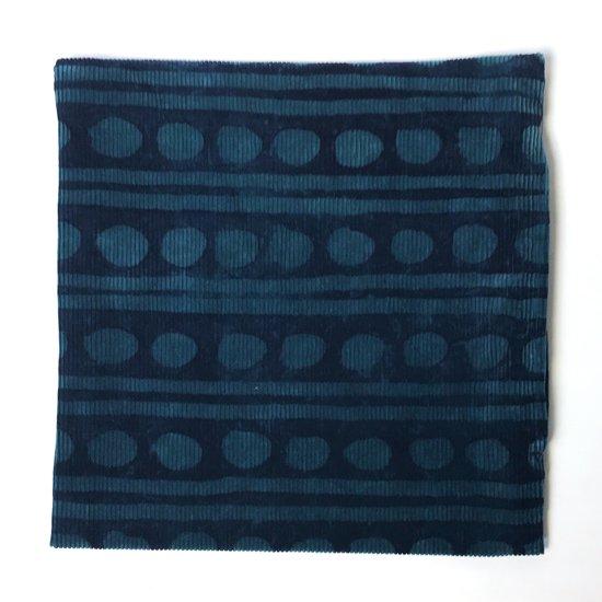 山内染色工房: 筒描コーデュロイクッションカバー『丸 x 線』/ 青緑