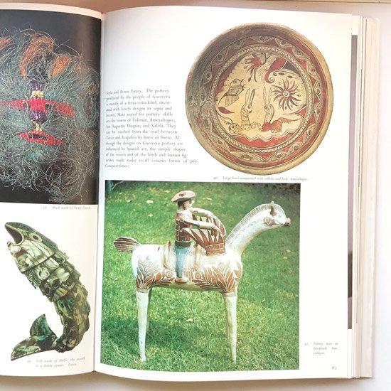 ヴィンテージブック:メキシコの地域・集落ごとにその土地の民芸が紹介される。木工、織物、紙細工、焼き物など多岐にわたる内容