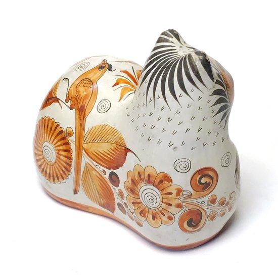 メキシコの陶器の有名な街トナラで1980年代に作られた猫がモチーフの陶器のオブジェ