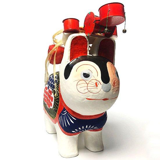 東京の郷土玩具 江戸張子 の工房「いせ辰」による古いとても大きな犬張子