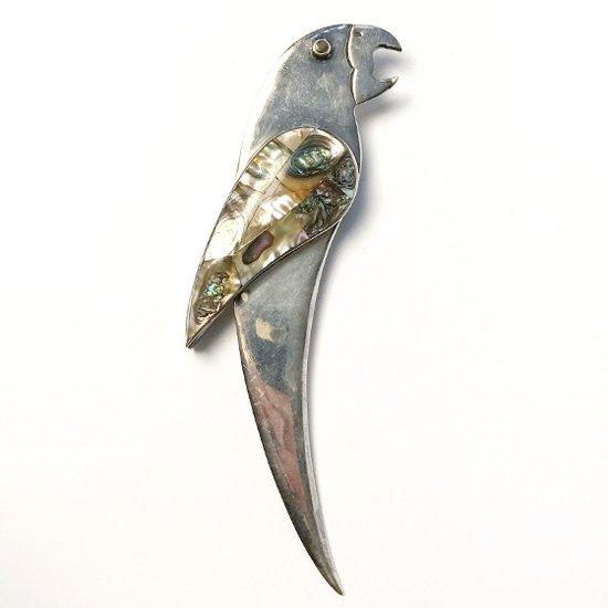 メキシコの金属細工が得意なタスコで作られた、鳥がモチーフの古いペーパーナイフ