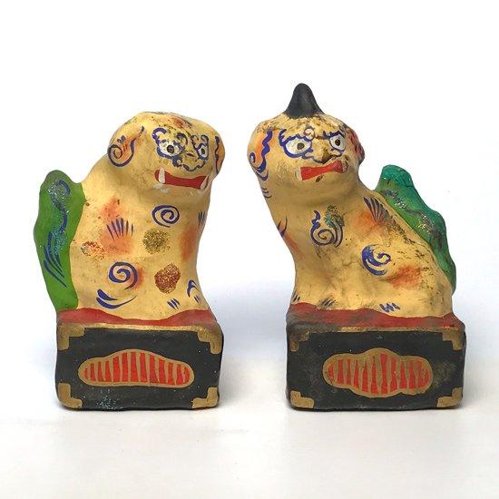 埼玉県の郷土玩具、山頂に神社がある賽登山の麓で販売されていた古い張子の狛犬