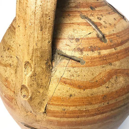 ヨーロッパの陶器 : 片手持ち手ペイント入りベース
