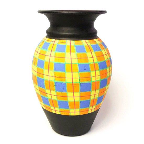 Vintage European Pottery : チェック柄の壷(中)