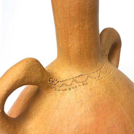 ヨーロッパの陶器 : 素焼きのベース(手付き/点描)