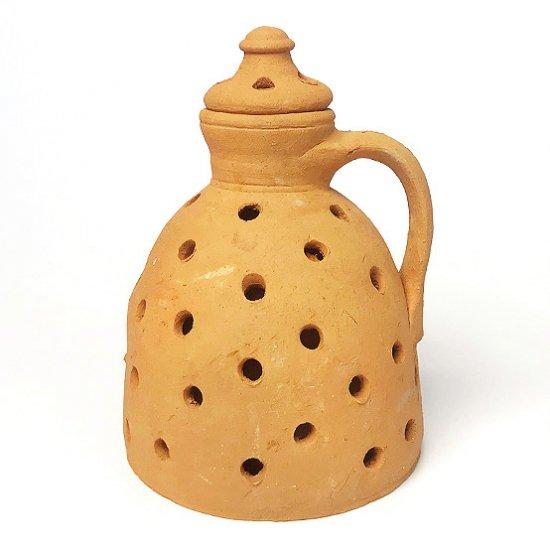 Vintage European Pottery : 素焼きのベース(穴あき/蓋つき)