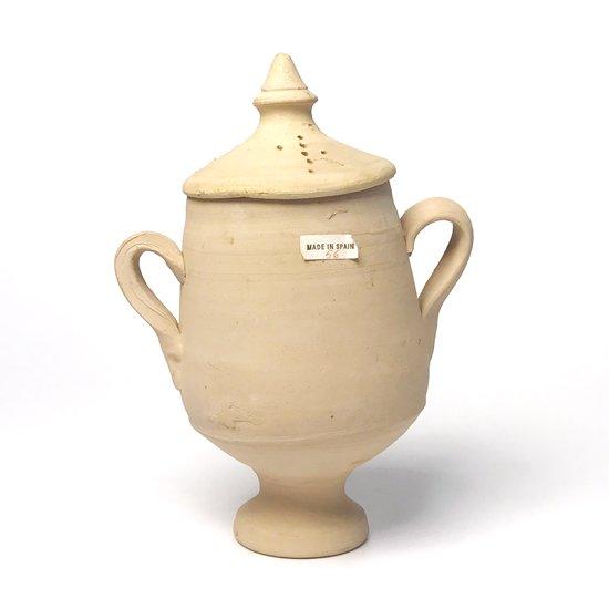 Vintage European Pottery : 素焼きのカップ(蓋付き)