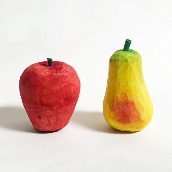ウッドカービングフルーツ / リンゴ、洋ナシ