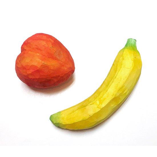 ウッドカービングフルーツ / モモ、バナナ