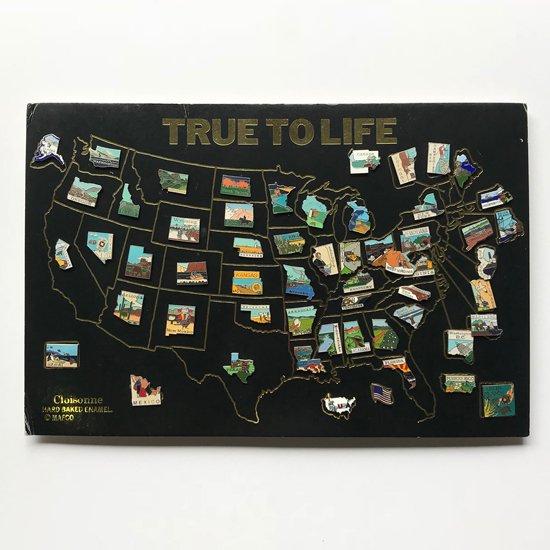 vintage miscellaneous enamel pins set usa map