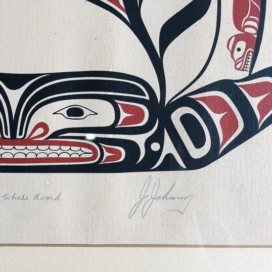 1979年にカナダのネイティブアメリカンのアート作品、エディション600部のスクリーンプリントの額装