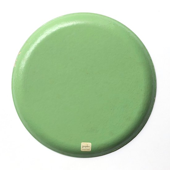 とても綺麗な化粧紙が使われている1950年代日本製の丸いトレー