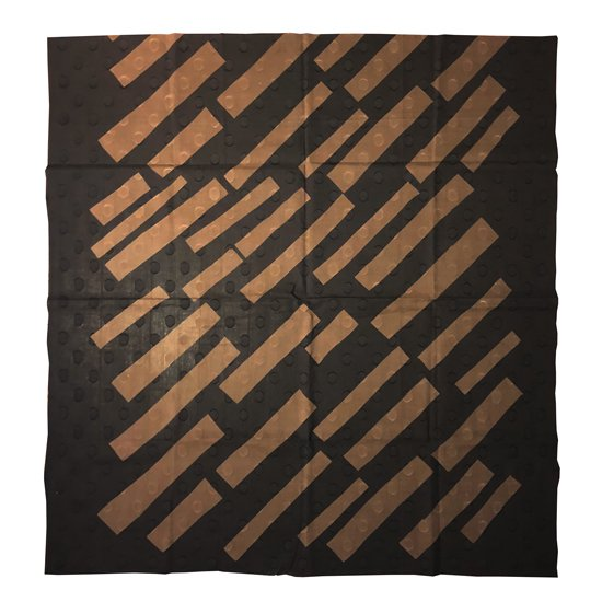 山内染色工房: 柔らかな素材の風呂敷『斜め線』/ 濃紺 x 茶