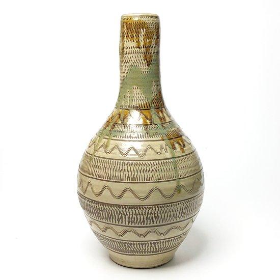 日本一の民窯 小鹿田焼 の高さ45cmを超える、首長の珍しい形をした大きな壺