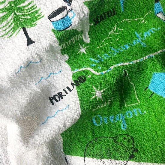 西海岸の北のほう、パシフィックノースウェストのスーベニア的なイラスト