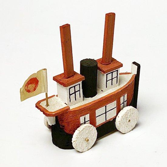 島根県松江の郷土玩具、松江の風景を切り取った『松江の蒸気船』の古作