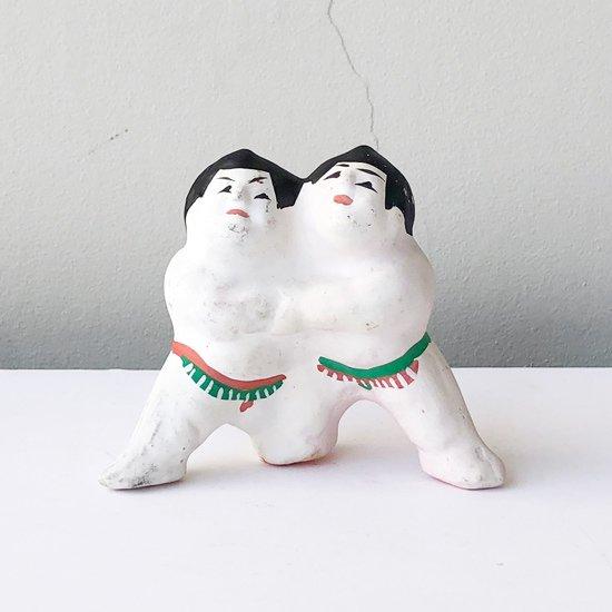 青森県の郷土玩具、下河原土人形の「組相撲」の古いもの