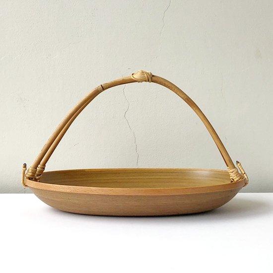青森県弘前の木工芸品 「ブナコ」の古い手付きトレー