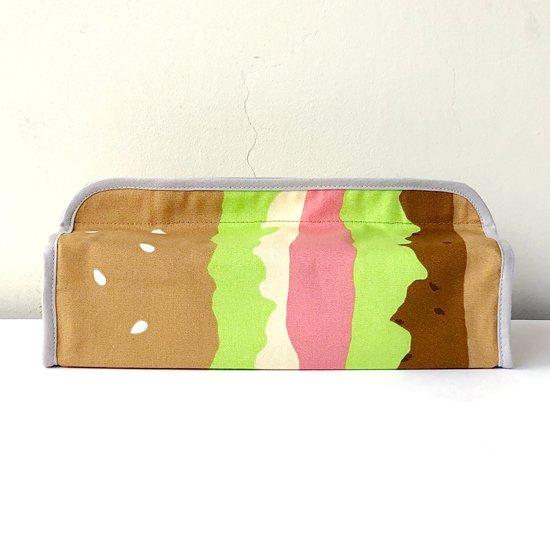 ハンバーガー柄のティッシュボックスカバー