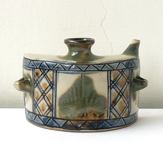 沖縄県の焼物 壺屋焼 の古い抱瓶(だちびん)