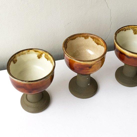 大分県 の民窯 小鹿田焼 の古い馬上杯