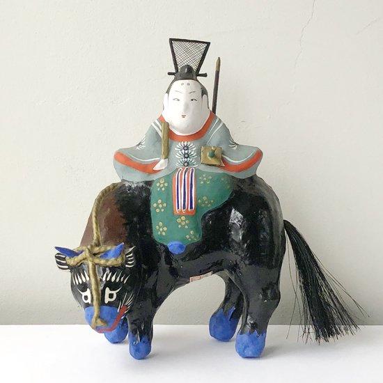 福島の郷土玩具、三春張子 の古い牛乗り天神