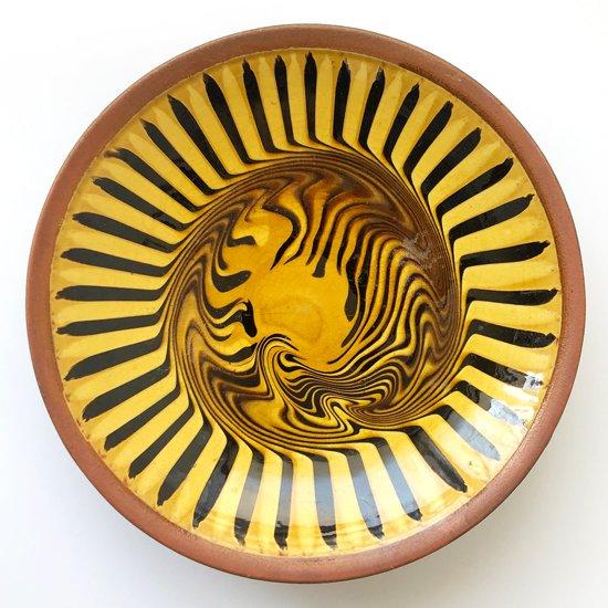 島根県の焼物 布志名焼 の古いスリップウェアの大鉢