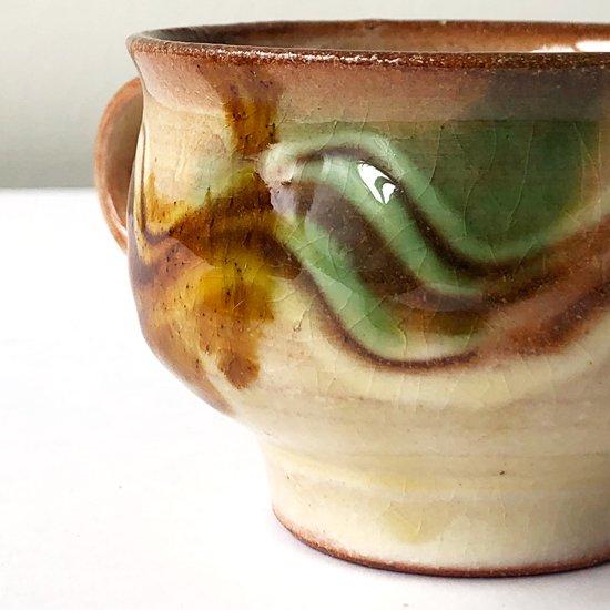 島根県の民窯 湯町窯 で作られた古いカップアンドソーサー