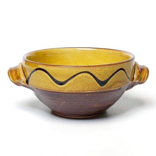 島根県の焼物 布志名焼 の古いスリップウェアの手付き鉢
