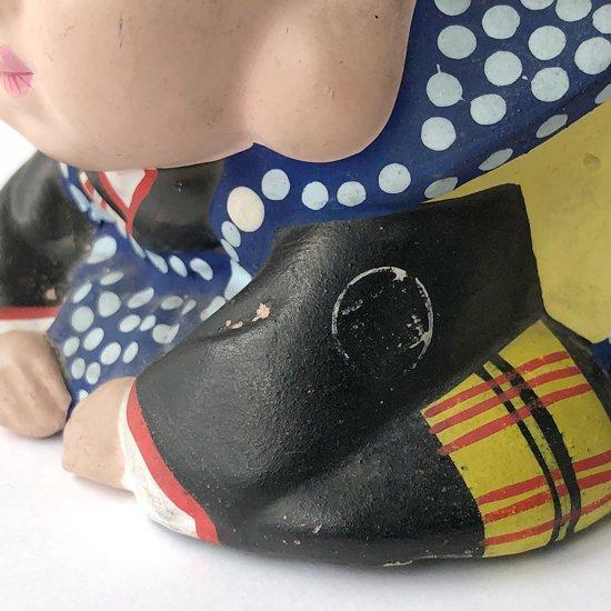 顔つきや羽織の柄など作りの良い古い福助人形