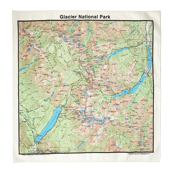 THE PRINTED IMAGE:マップバンダナ「Glacier National Park」
