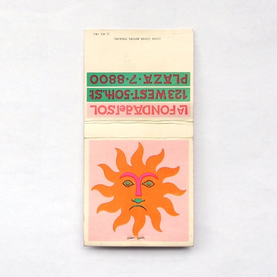 B:ヴィンテージ アイテム:アレキサンダー・ジラルドがLa Fonda Del Solのためにデザインをしたマッチブックのカバーです