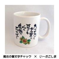 【筆文字】  感謝の花 マグカップ クリアケース付 【魔法の筆文字チャック × い〜かごしま】