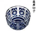 小付鉢(カゴメカット・瑠璃色) 【薩摩切子/鹿児島/ツジガラス工芸】