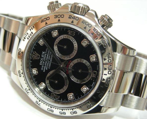 low priced bc1cd 14926 ロレックス デイトナ 18Kホワイトゴールド ブラック・8Pダイヤ ...