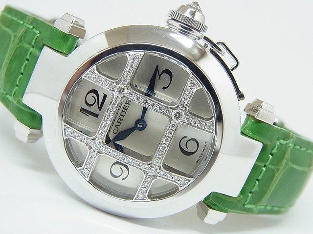 カルティエ パシャ32MM 18KWG グリッドダイヤ 正規品