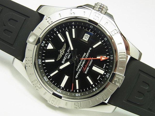 ブライトリング アベンジャーII・GMT 黒 ラバー仕様 正規品
