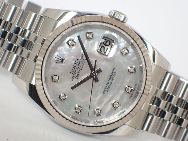 ロレックス デイトジャストWGベゼル ホワイトシェル 10Pダイヤ 116234NG