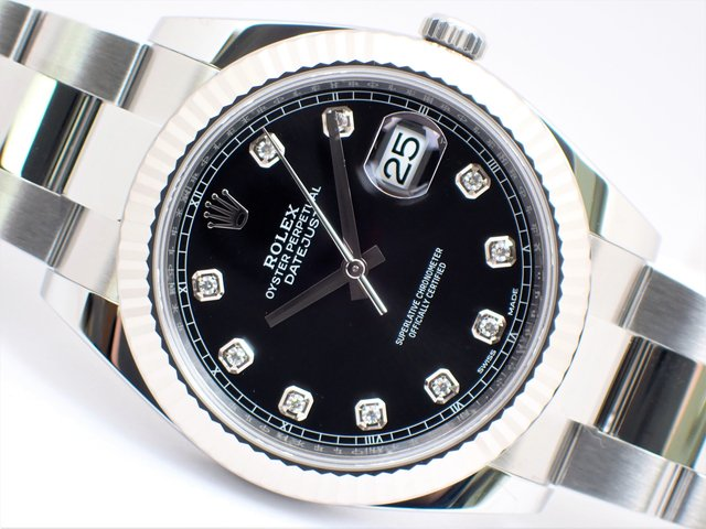 ロレックス デイトジャスト41 ブラック 10Pダイヤ 126334G