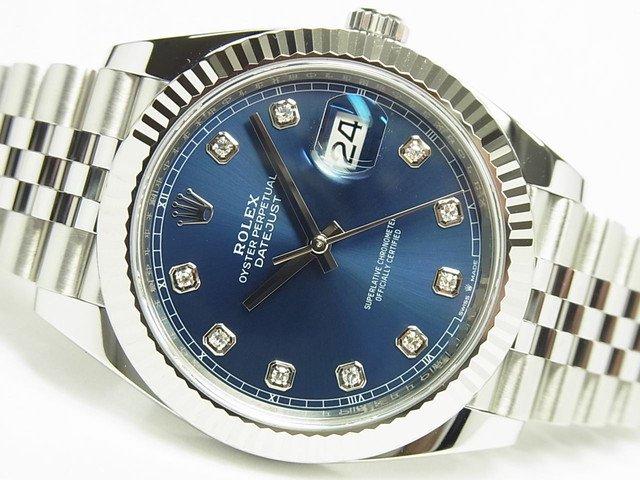 ロレックス デイトジャスト41 ブルー 10Pダイヤ 126334G '19年