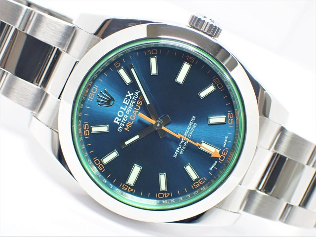ロレックス ミルガウス グリーンガラス Zブルー Ref.116400GV 2020年