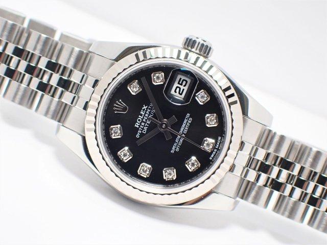 ロレックス レディース・デイトジャスト ブラック 10Pダイヤ 179174G