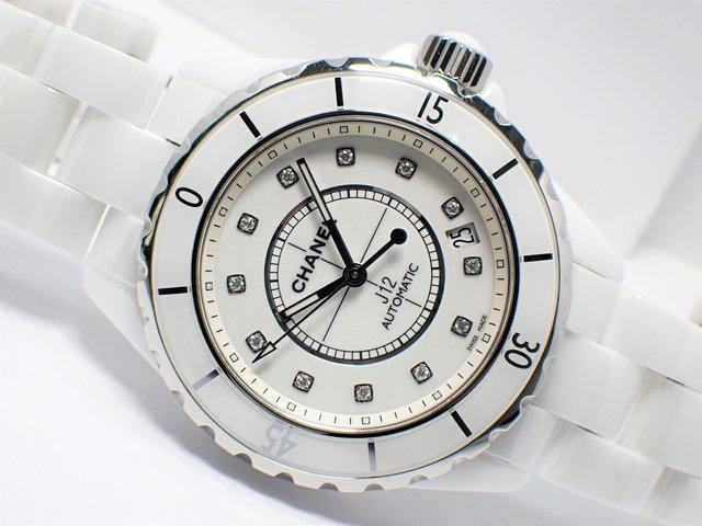 シャネル J12ホワイトセラミック 12Pダイヤ メンズ 正規品
