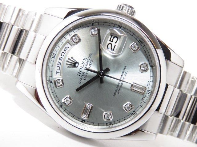 various colors d1357 26062 ロレックス デイデイト Pt アイスブルーダイヤ 118206A - 腕時計 ...