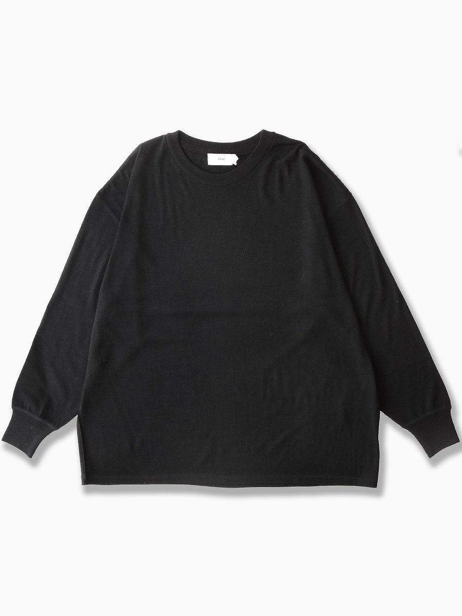 BRAND : Graphpaper<br>MODEL : WASHABLE WOOL CREW NECK BIG TEE<br>COLOR : BLACK