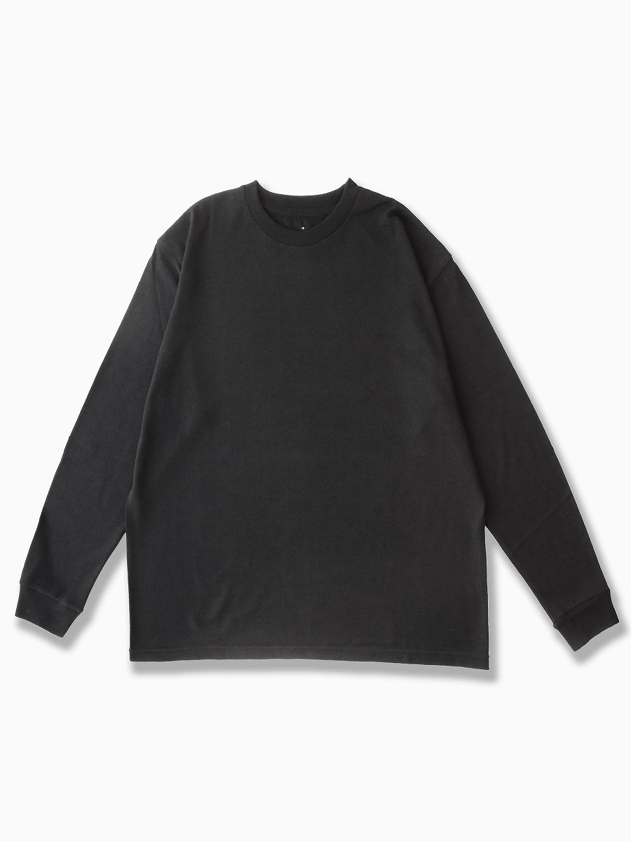 BRAND : Graphpaper<br>MODEL : WASHABLE WOOL CREW NECK TEE<br>COLOR : BLACK