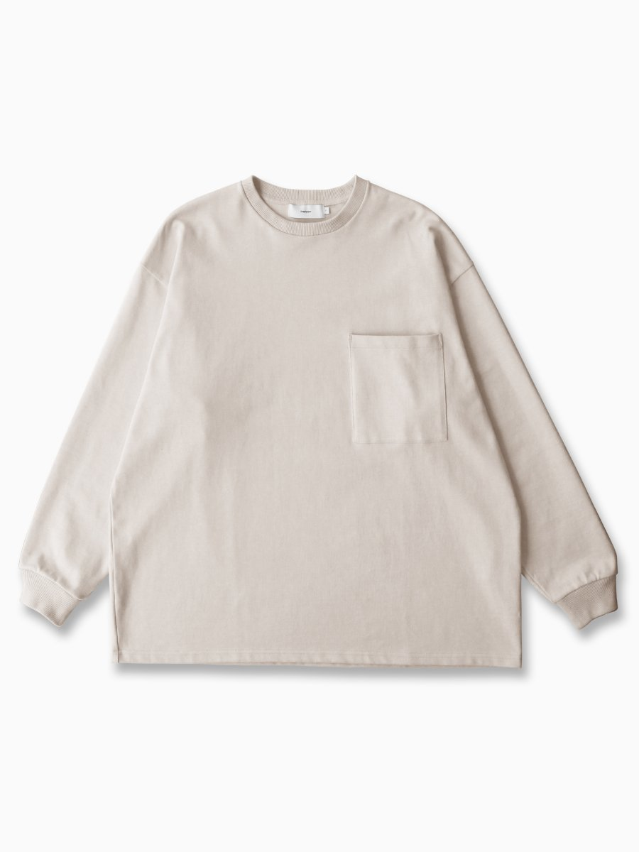 BRAND : Graphpaper<br>MODEL : HEAVY WEIGHT L/S OVERSIZED TEE<br>COLOR : WHITE