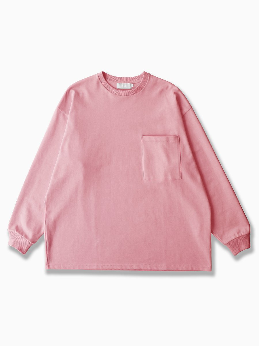 BRAND : Graphpaper<br>MODEL : HEAVY WEIGHT L/S OVERSIZED TEE<br>COLOR : PINK