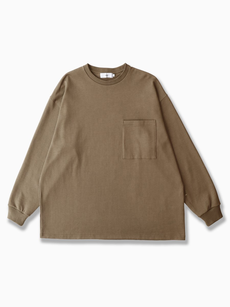 BRAND : Graphpaper<br>MODEL : HEAVY WEIGHT L/S OVERSIZED TEE<br>COLOR : KHAKI